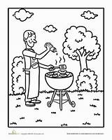 Bbq Coloring Worksheet Grilling Grill Dad Summer Education Preschool Sunny Waiting Looks He Been sketch template