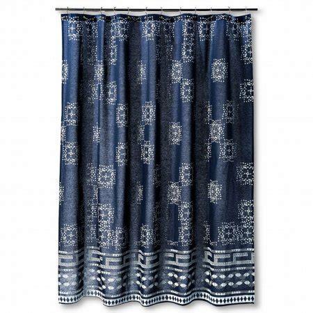 navy blue curtains walmart nate berkus navy blue print fabric shower curtain bath