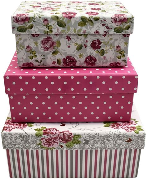 Decorated Gift Boxes - 3 set themed gift boxes decorative pink roses