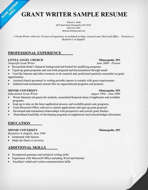 resumes for grant writers sle resume