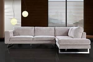 Beige microfiber modern sectional sofa w chrome metal legs for Sectional sofa metal legs