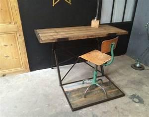 Bureau Bois Metal : ancien bureau bois et m tal ~ Teatrodelosmanantiales.com Idées de Décoration