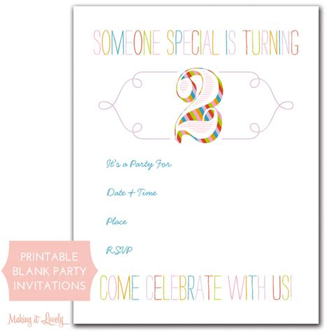 rainbow birthday party invitations  printable