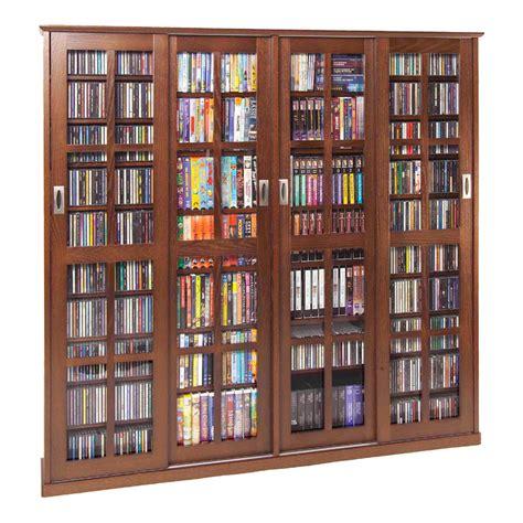 media storage cabinet with glass doors leslie dame glass 4 door multimedia storage cabinet walnut