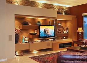 Floating Shelves Custom Media Wall Design by DAGR Design