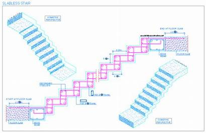 Staircase Concrete Stairs Reinforced Drawing Riser Slabless