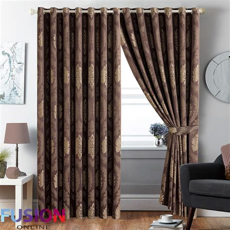 Ring Top Drapery - ring top curtain jacquard fully lined pair eyelet curtains