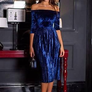 Women Velvet Vestidos 2017 Fashion Elegant Party Dress Off ...