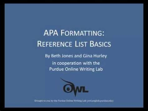 purdue owl  formatting reference list basics youtube