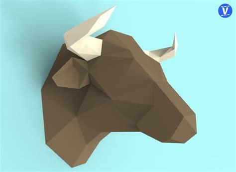 bull head papercraft  pack  paper sculpture template