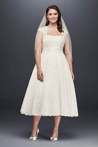 davids bridal tea length plus size wedding dress with With tea length wedding dresses plus size