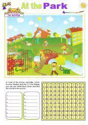 english worksheet   park worksheets  kids park