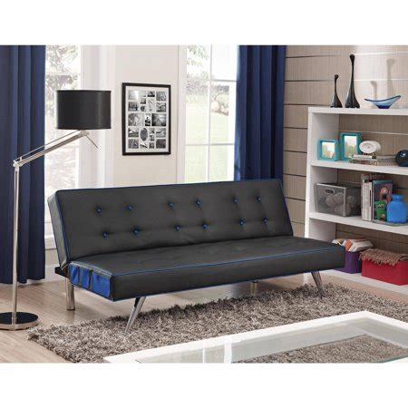 walmart faux leather futon contrast piping tufted faux leather futon sofa bed