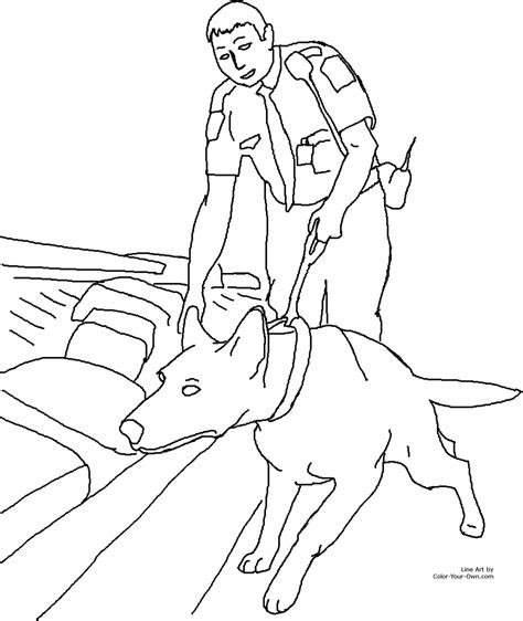 Free Coloring Pages Of Uniform Police Army Dog Coloring
