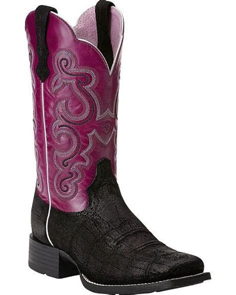 ariat quickdraw gator print cowgirl boots square toe