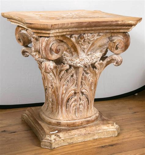 column table l wooden corinthian column form table base at 1stdibs