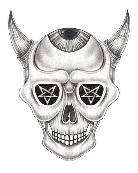Sketch Devil Skull Stock Vector Illustration Gray