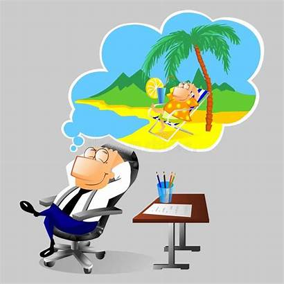 Dreaming Vacation Businessman Cartoon Workplace Holiday Drawing