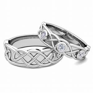 Matching wedding band 18k gold celtic diamond wedding ring for Celtic knot wedding rings sets