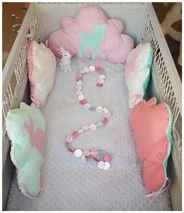 Tour De Lit Rose Pale : tour de lit b b nuage vert d 39 eau corail et rose pale th me faon et lapin linge de lit ~ Teatrodelosmanantiales.com Idées de Décoration