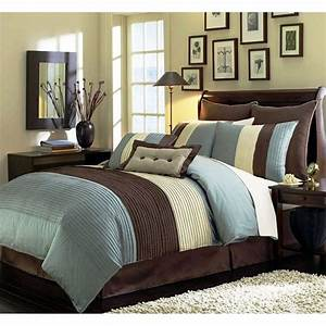 Beige Blue-Teal and Brown Luxury Stripe 8 Piece King Size