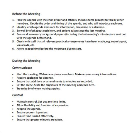sample agenda templates   ms word
