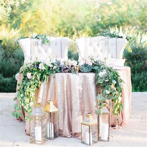 Rose Gold Sequin Sweetheart Table With Kings Chairs
