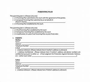 co parenting agreement template - 9 parenting plan templates sample templates