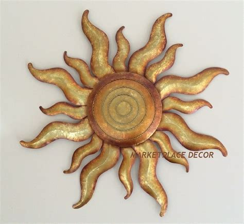 golden sun celestial wall art metal gold sunburst garden decor regal gift arts ebay