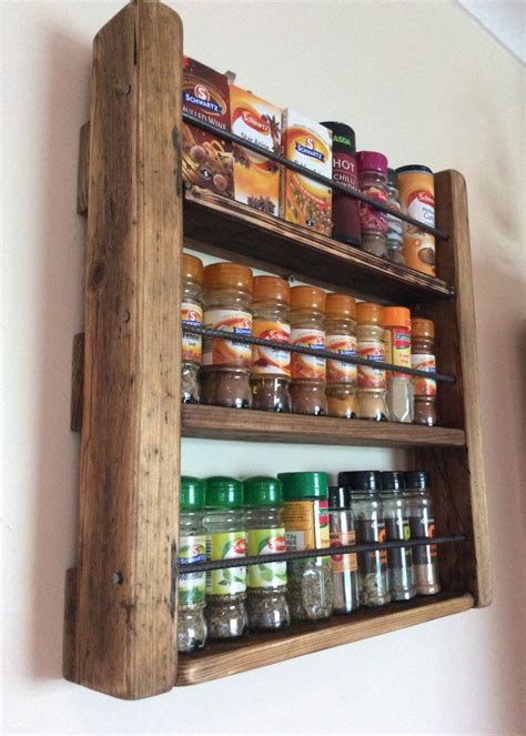 Spice Rack Wood by Spice Rack Handmade Kitchen Storage Rustic By