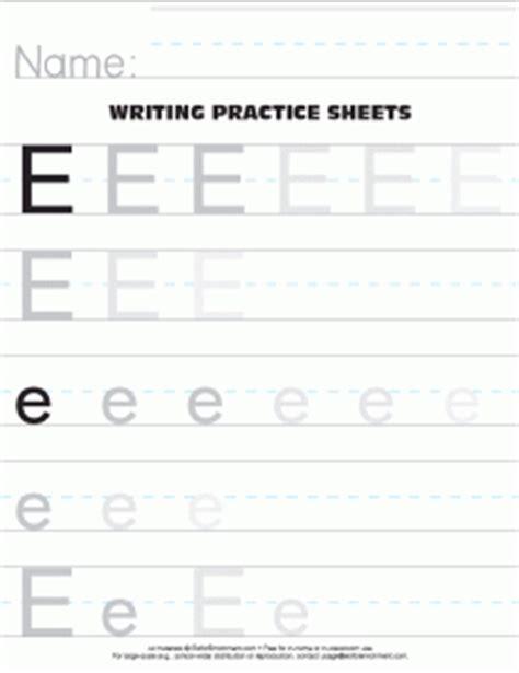letter e practice worksheet pre k work printables pinterest