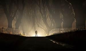 Men, Nature, Landscape, Night, Road, Lights, Mist, Fence, Dark, Silhouette, Wallpapers, Hd