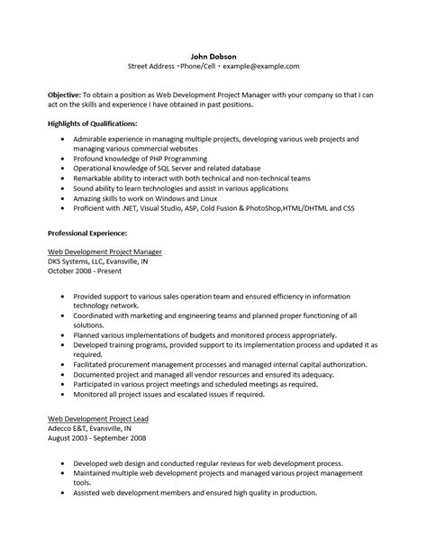 Rich Text Format Resume Template by Free Web Project Manager Resume Template Sle Ms Word