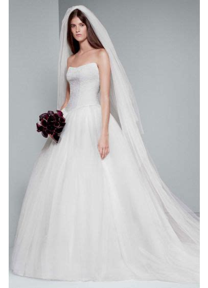 White By Vera Wang Chantilly Lace Ball Gown Davids Bridal