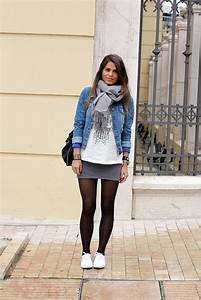 Grey skirt printed white t-shirt denim jacket and white canvas shoes school outfit-Tara ...