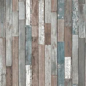 Fine decor reclaimed wood wallpaper fd40888 for Best brand of paint for kitchen cabinets with papiers peints 4 murs