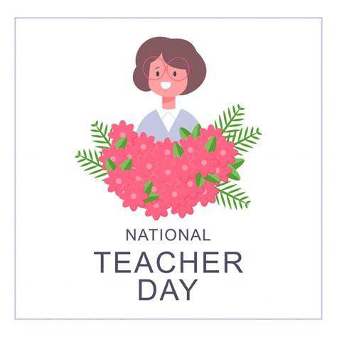 national teacher day card design vector cartoon flat girl