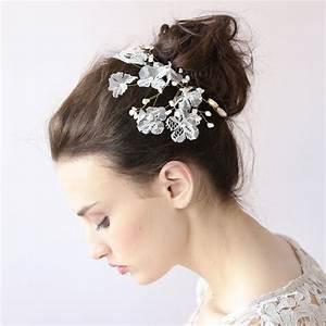 White Crystal Flower Hair Clip Lace Sparkle Leaf Hair Clip