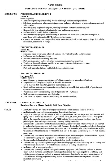 precision assembler resume samples velvet jobs