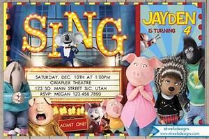 Sing Movie Birthday Invitation, Illumination Sing Birthday