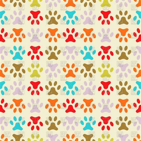 colorful wallpaper  dogs paw prints vector image