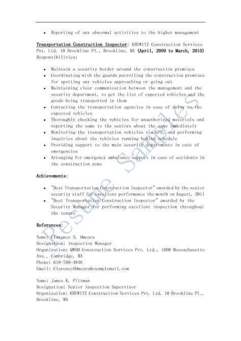 Resumes For by Resume Sles Transportation Construction Inspector Resume