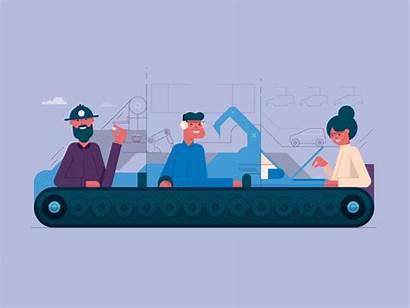 Line Assembly Company Animation Jones Cartoon Animated