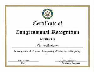 charity navigator congressional recognition of our birthday With recognition of service certificate template