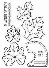 Patterns Pumpkin Leaf Pattern Leaves Template Coloring Stem Felt Templates Applique Stems Traceable Printable Fabric Fall Sewing Pumpkins Material Quilts sketch template