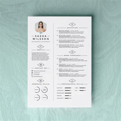 custom resume cv design cover letter template instant