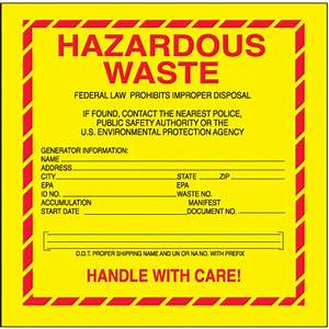 waste labels With hazardous waste label template