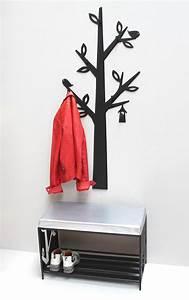 Flurgarderobe Mit Sitzbank : schuhregal mit sitzfl che wandgarderobe set baum metall schwarz flurgarderoben modern schuhbank ~ Indierocktalk.com Haus und Dekorationen