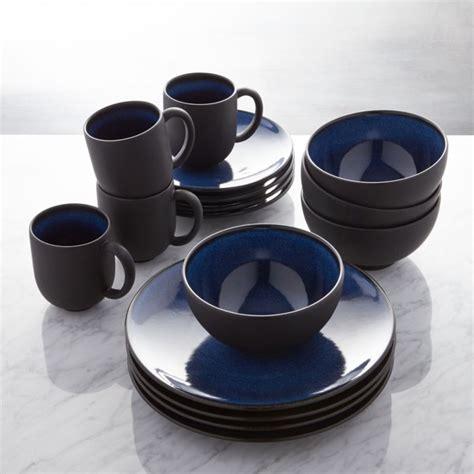 jars tourron blue  piece dinnerware set crate  barrel