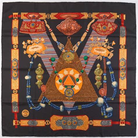 hermes silk twill scarf tibet designed  caty latham